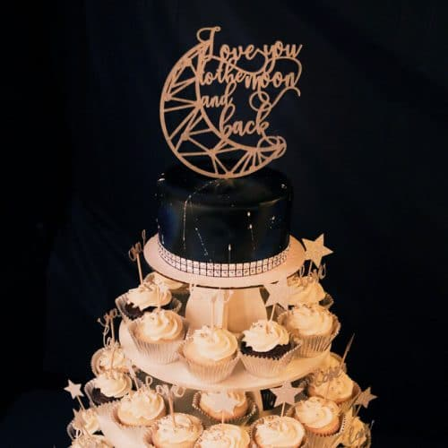 Love you to the moon and back wedding cake topper by Thistle and Lace