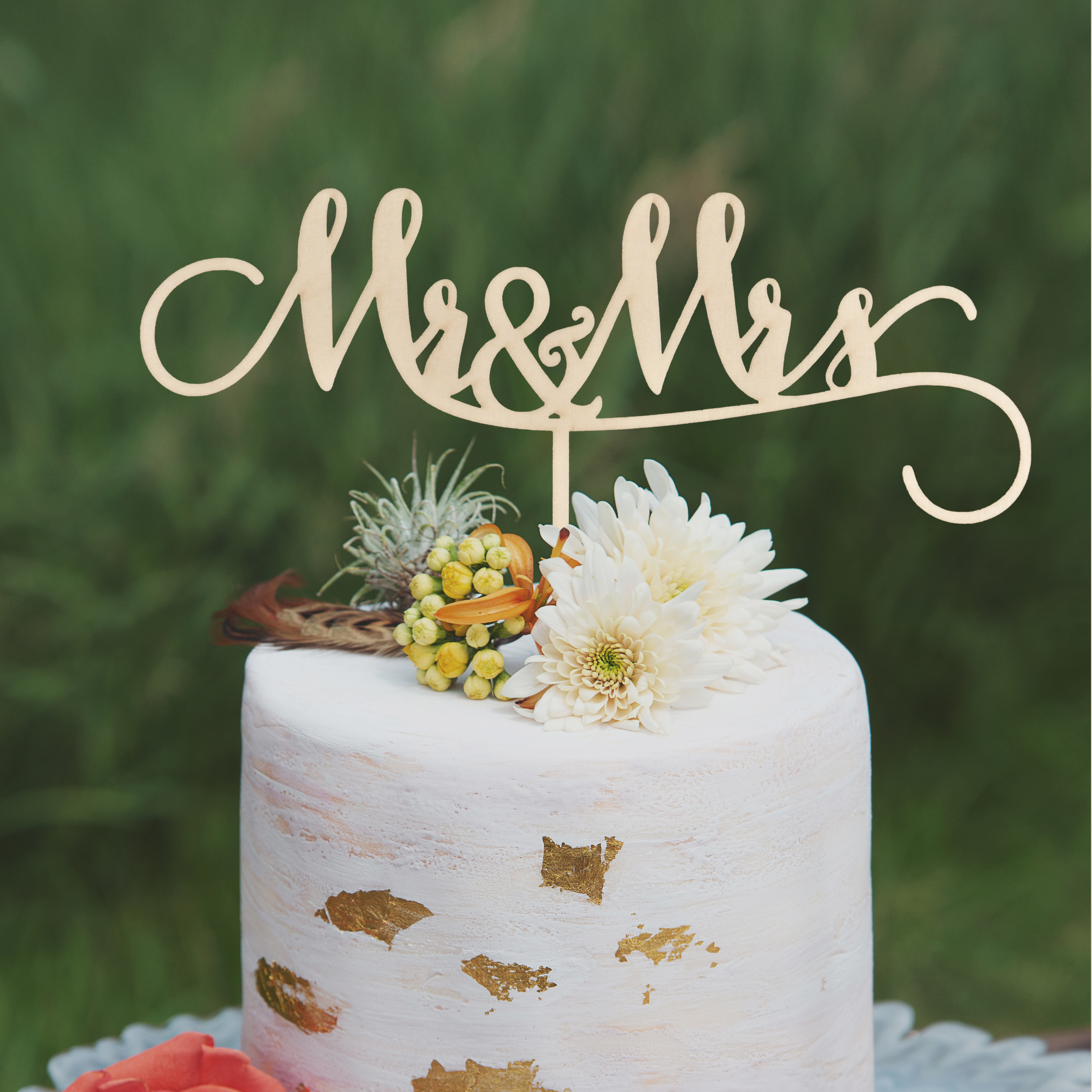 Mr and Mrs Wedding Cake Topper by Thistle and Lace