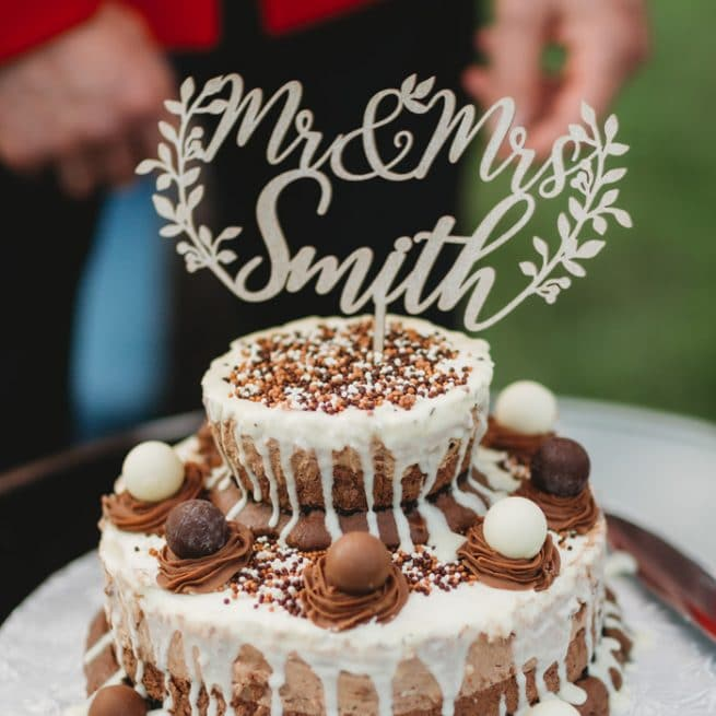 Rustic Wedding Cake Topper by Thistle and Lace