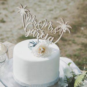 Custom Tropical Mr and Mrs Wedding Cake Topper