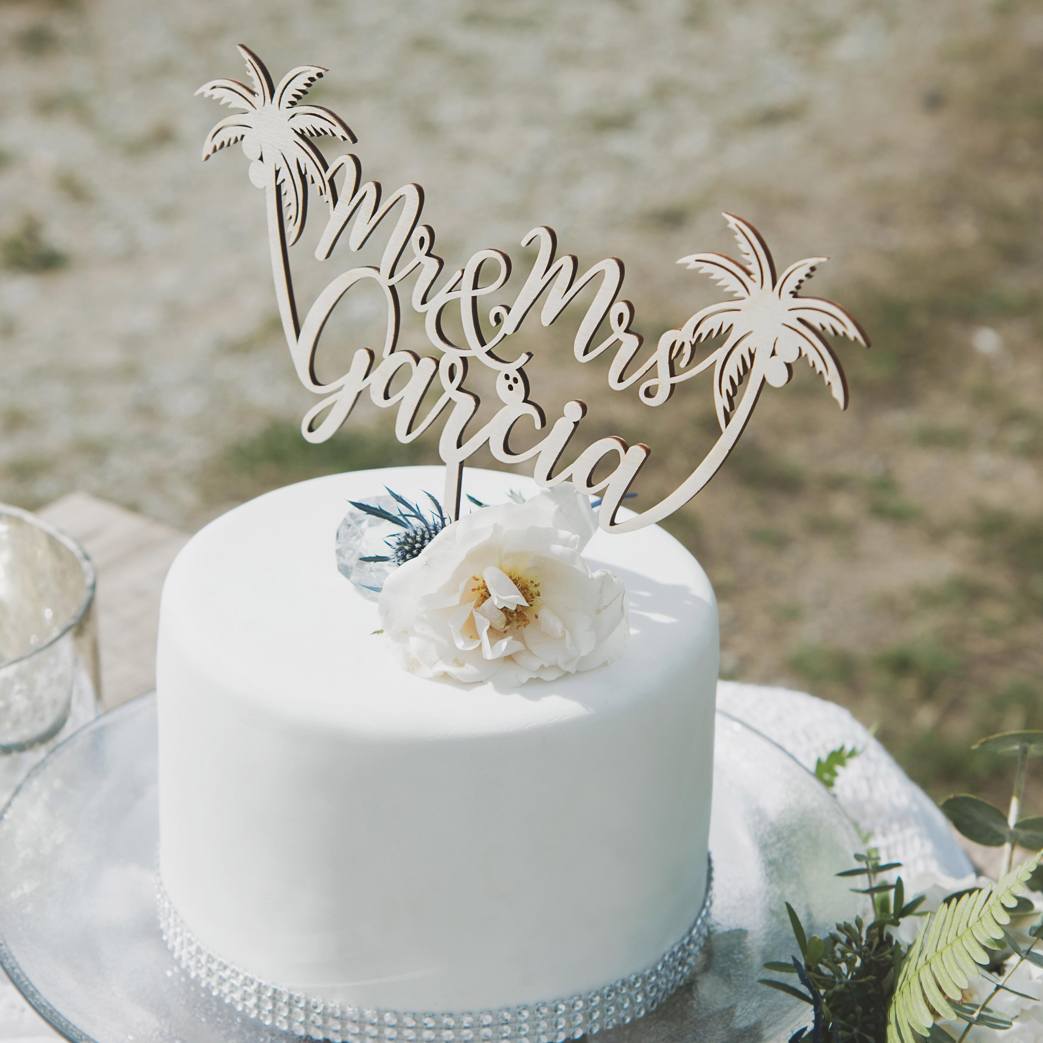 Beach Mr and Mrs Wedding Cake Topper by Thistle and Lace