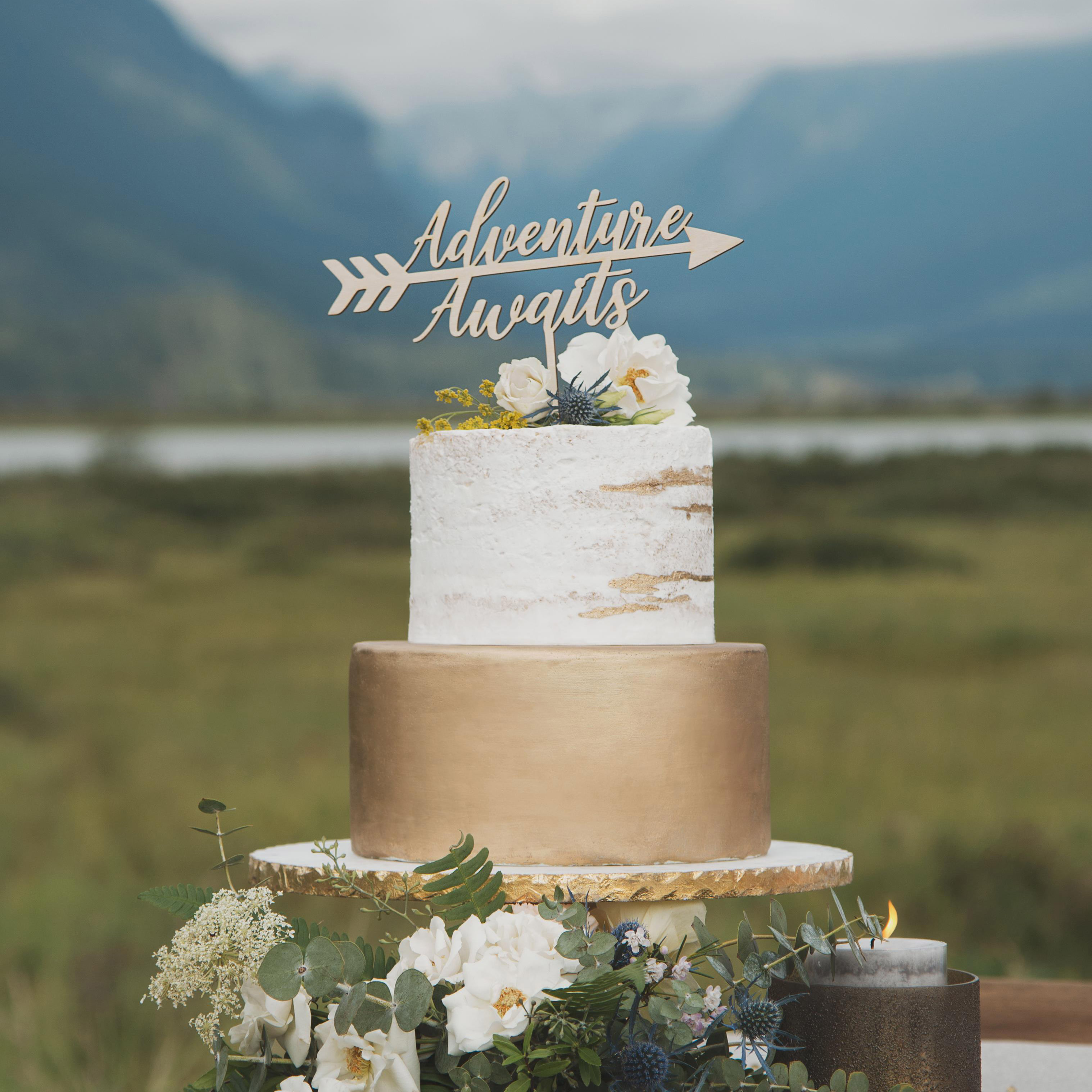 Adventure Awaits Wedding Cake Topper by Thistle and Lace