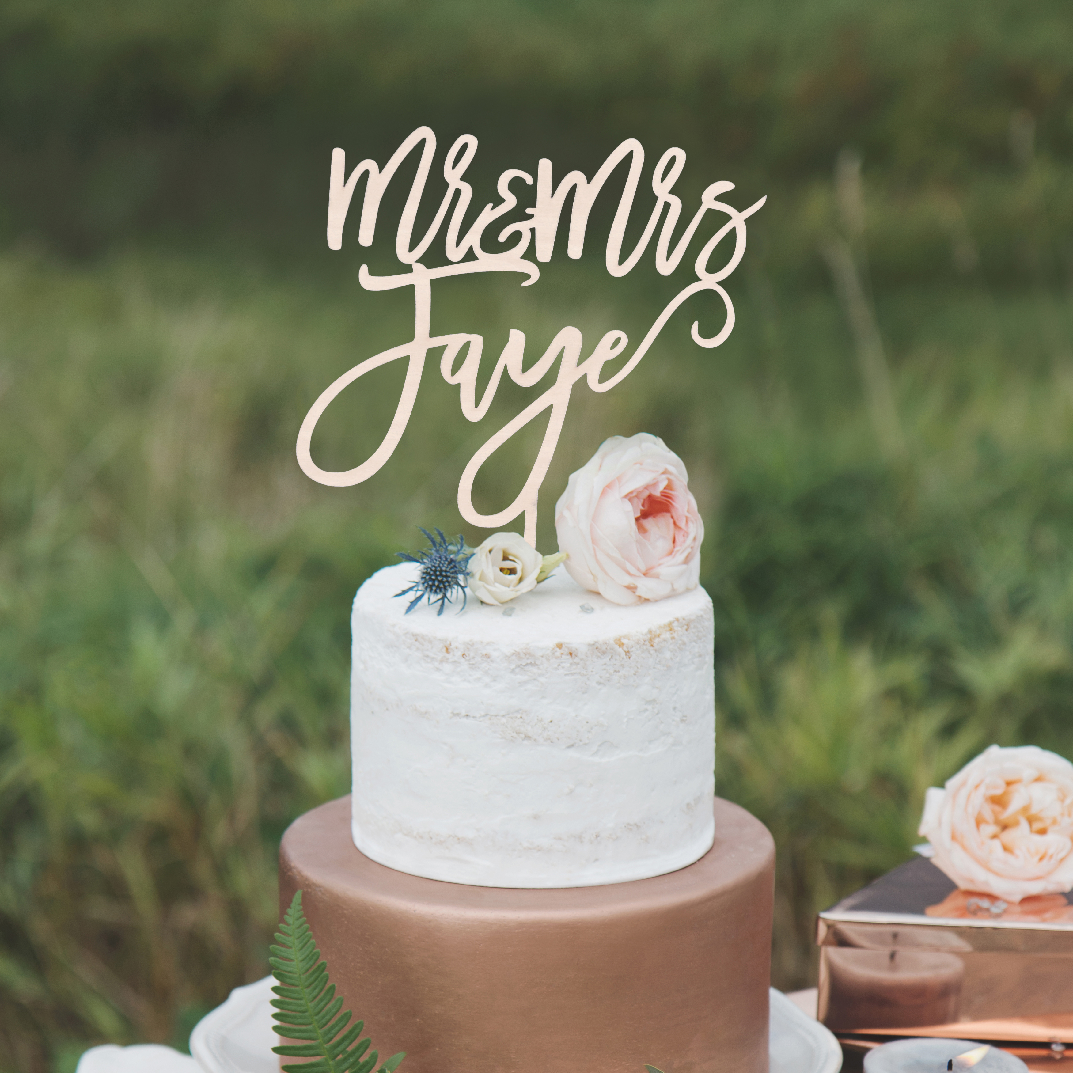 Modern Wedding Cake Topper by Thistle and Lace