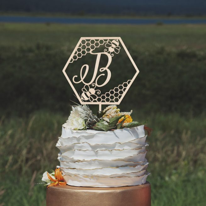 Bee Themed Monogram Wedding Cake Topper