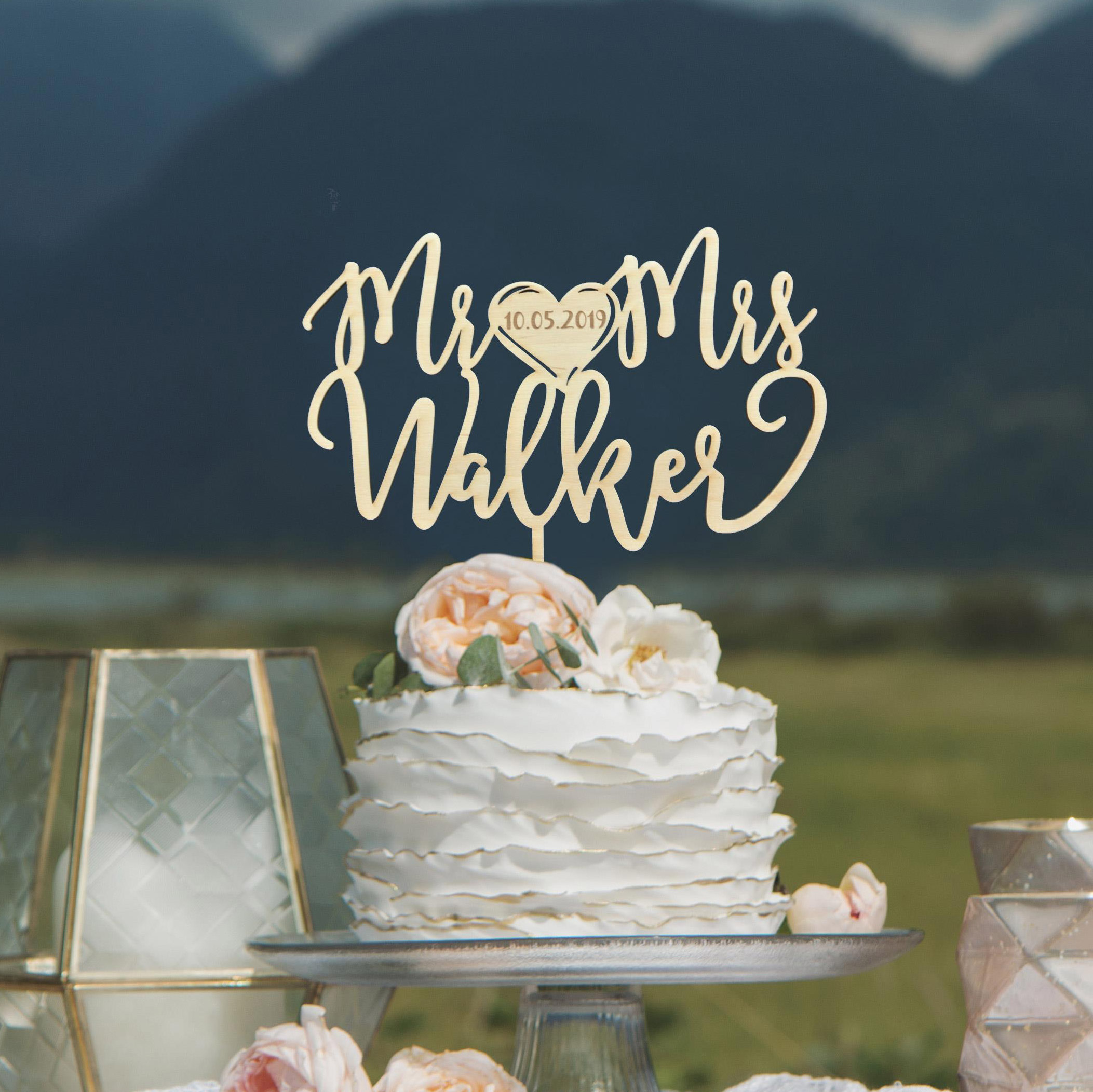 Engraved Mr and Mrs Wedding Cake Topper by Thistle and Lace