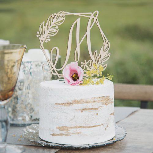 Floral Monogram Wedding cake Topper