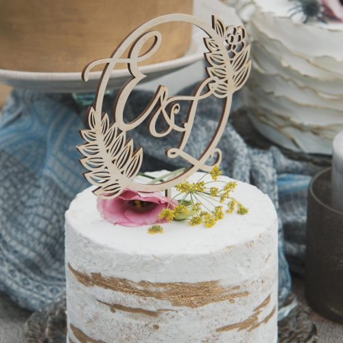 Tropical Monogram Wedding cake topper