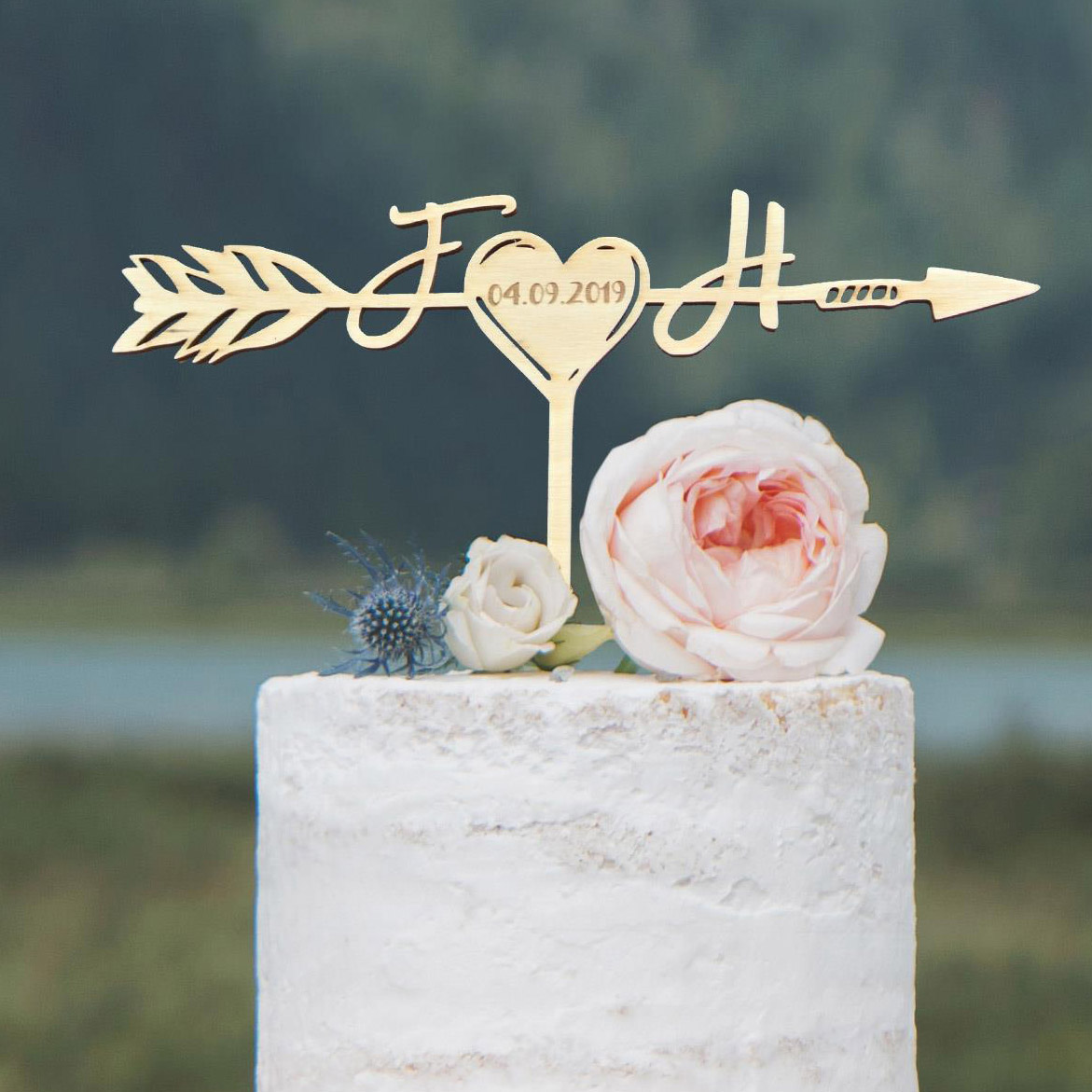 Rustic Monogram Wedding Cake Topper with Engraved Date by Thistle and Lace