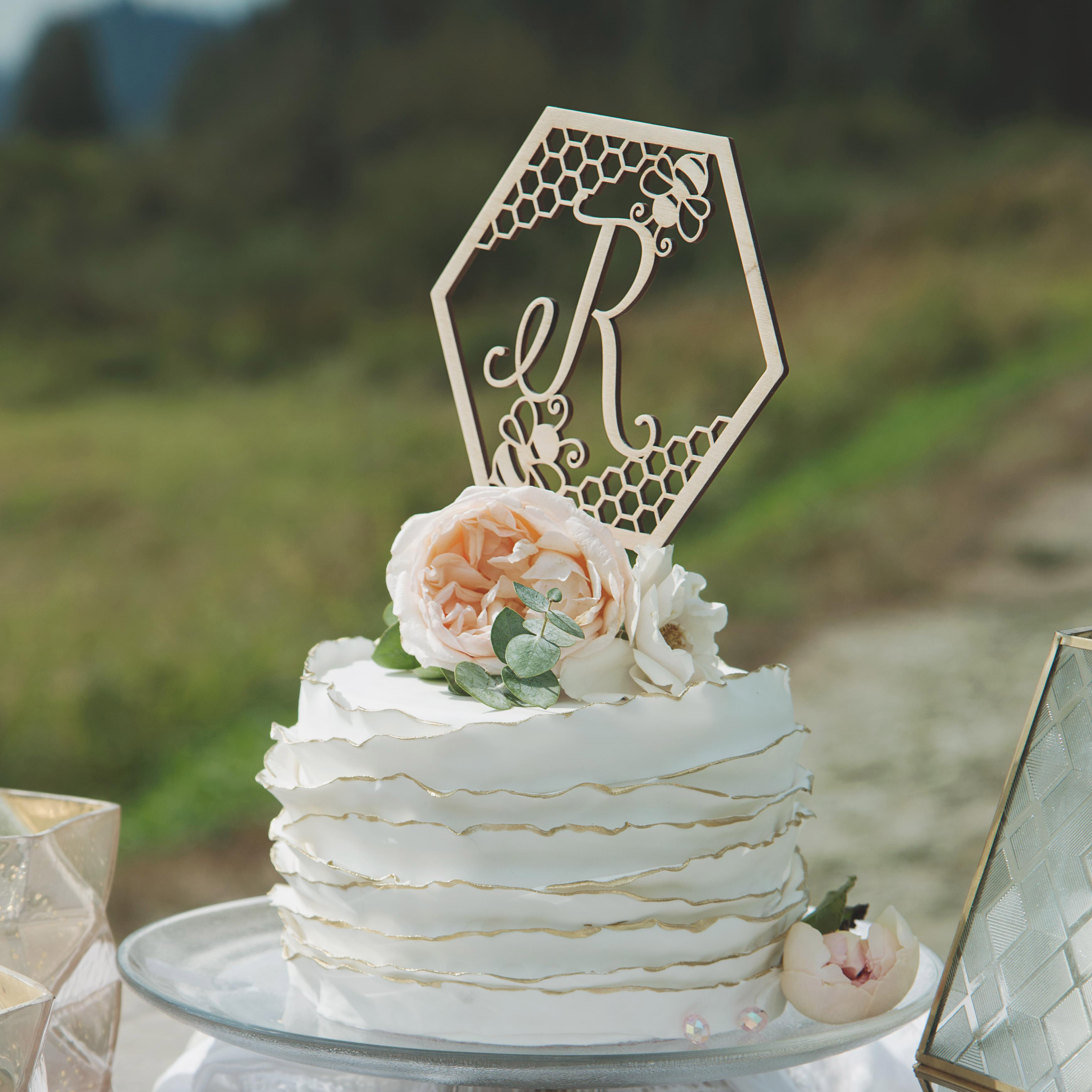 Bee Themed Monogram Wedding Cake Topper by Thistle and Lace
