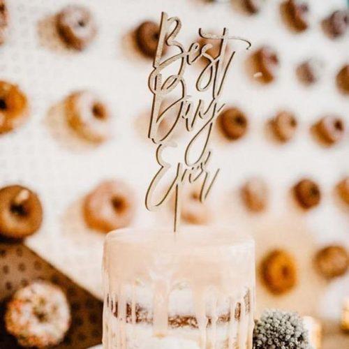 Best Day Ever Modern Wedding Cake Topper
