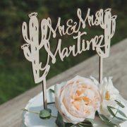 Custom Cactus Mr and Mrs Wedding Cake Topper