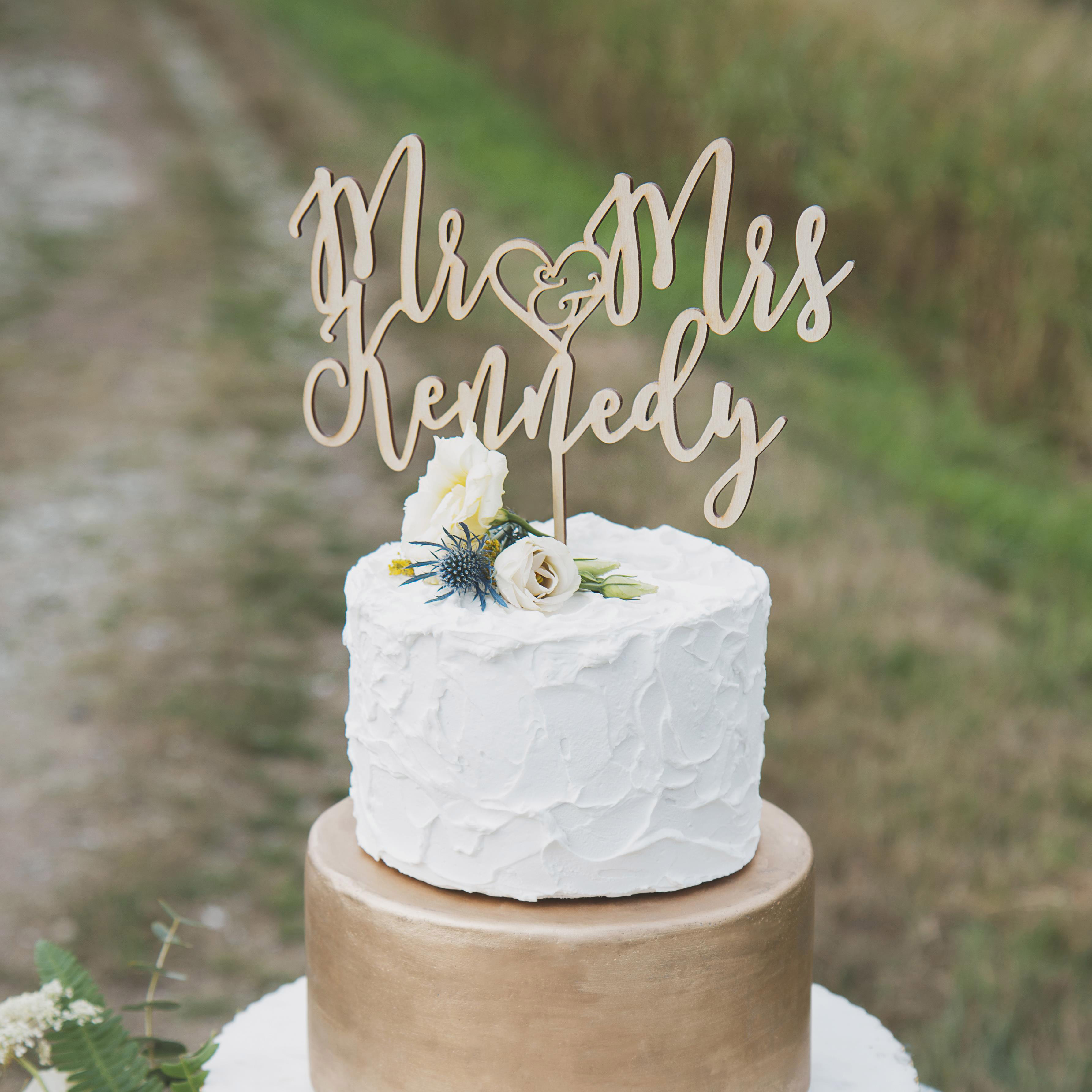 Elegant Mr and Mrs Custom Wedding Cake Topper by Thistle and Lace