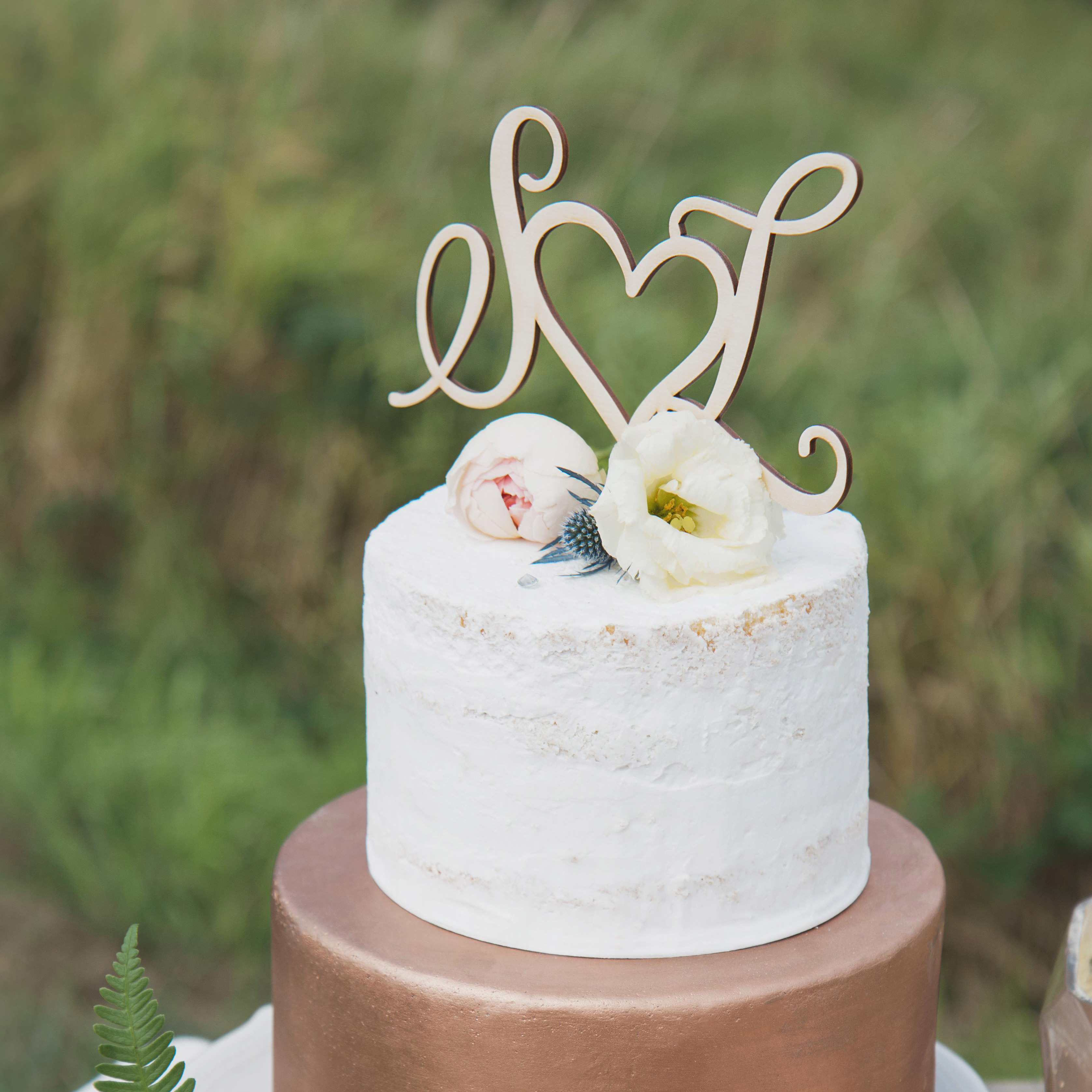 Elegant monogram wedding cake topper by Thistle and Lace