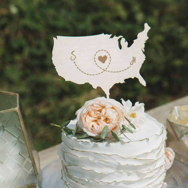 Map Wedding Cake Topper