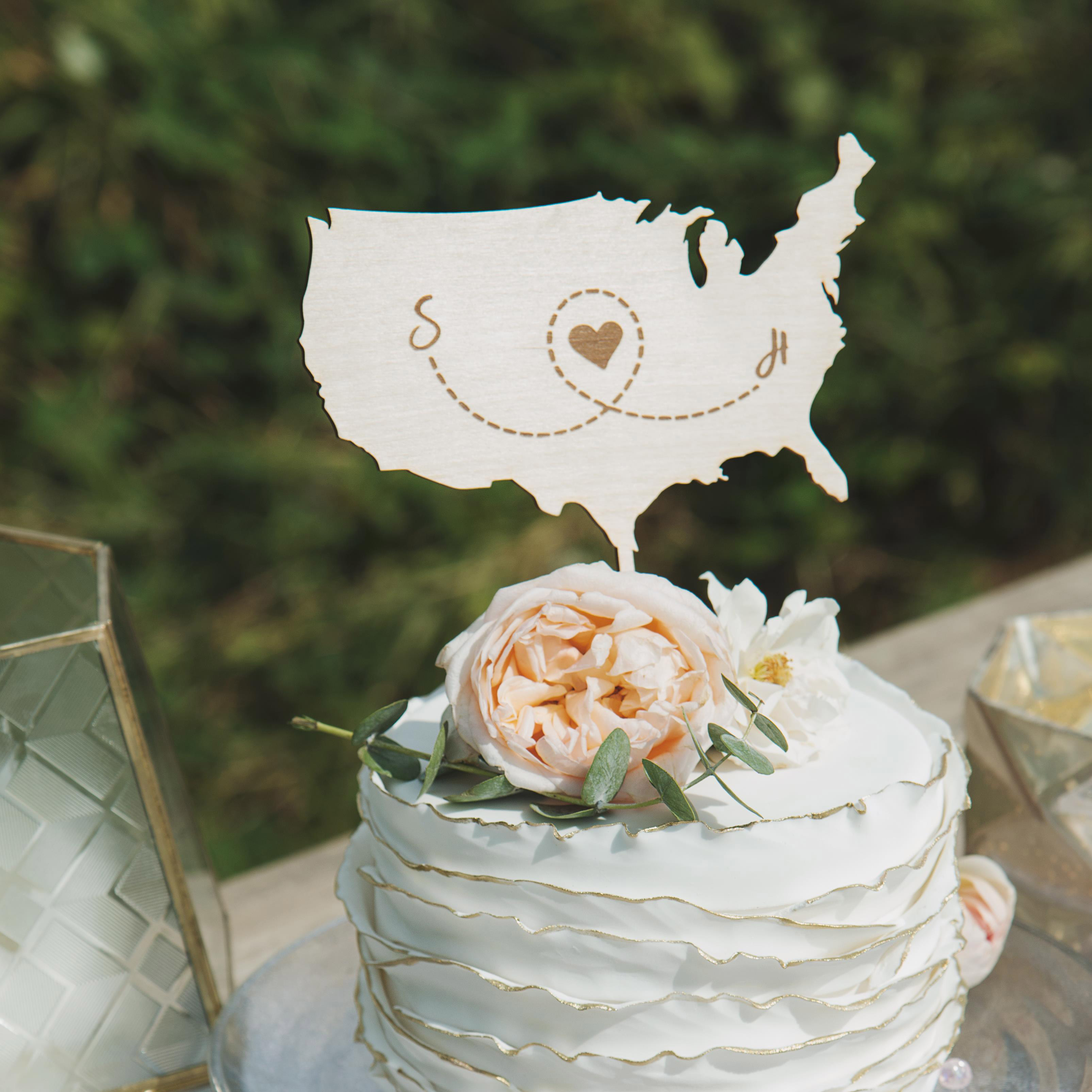 Map Wedding Cake Topper by Thistle and Lace