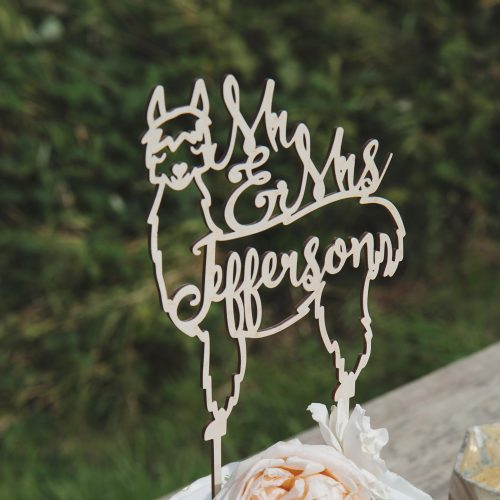 Custom Llama wedding cake topper
