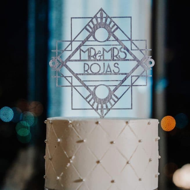 Art Deco Mr and Mrs Wedding cake topper by Thistle and Lace