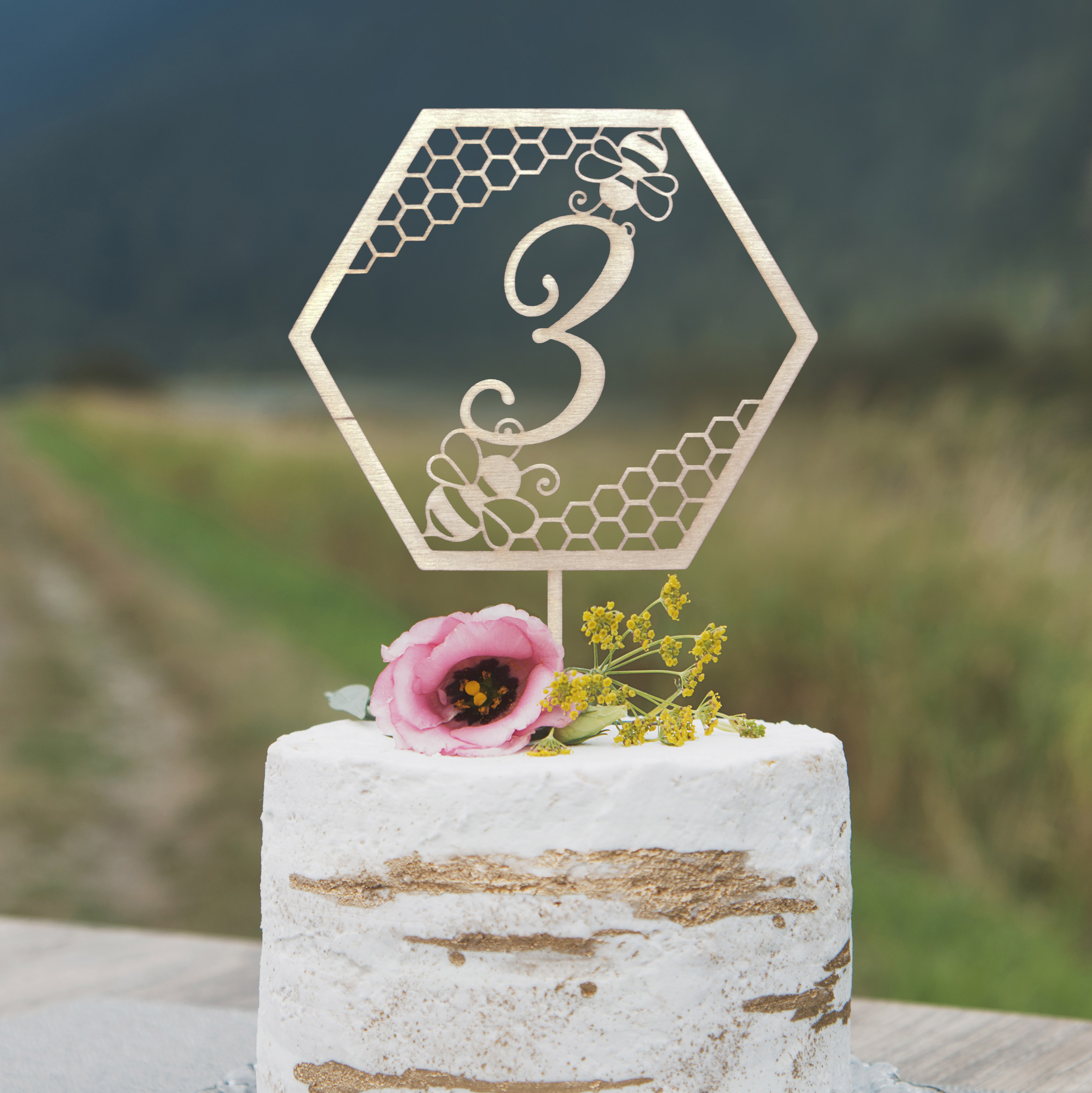 Custom Bee Birthday cake topper by Thistle and Lace
