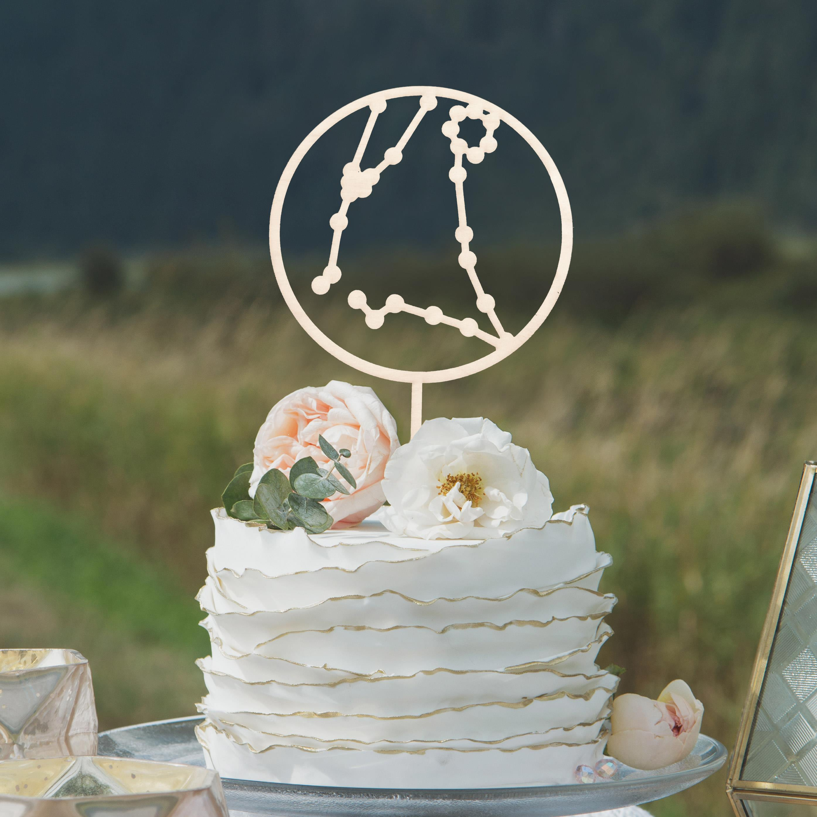 Celestial Wedding Cake Topper by Thistle and Lace