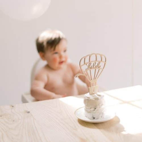 Hot Air Balloon Birthday Cake Topper by Thistle and Lace Designs Inc