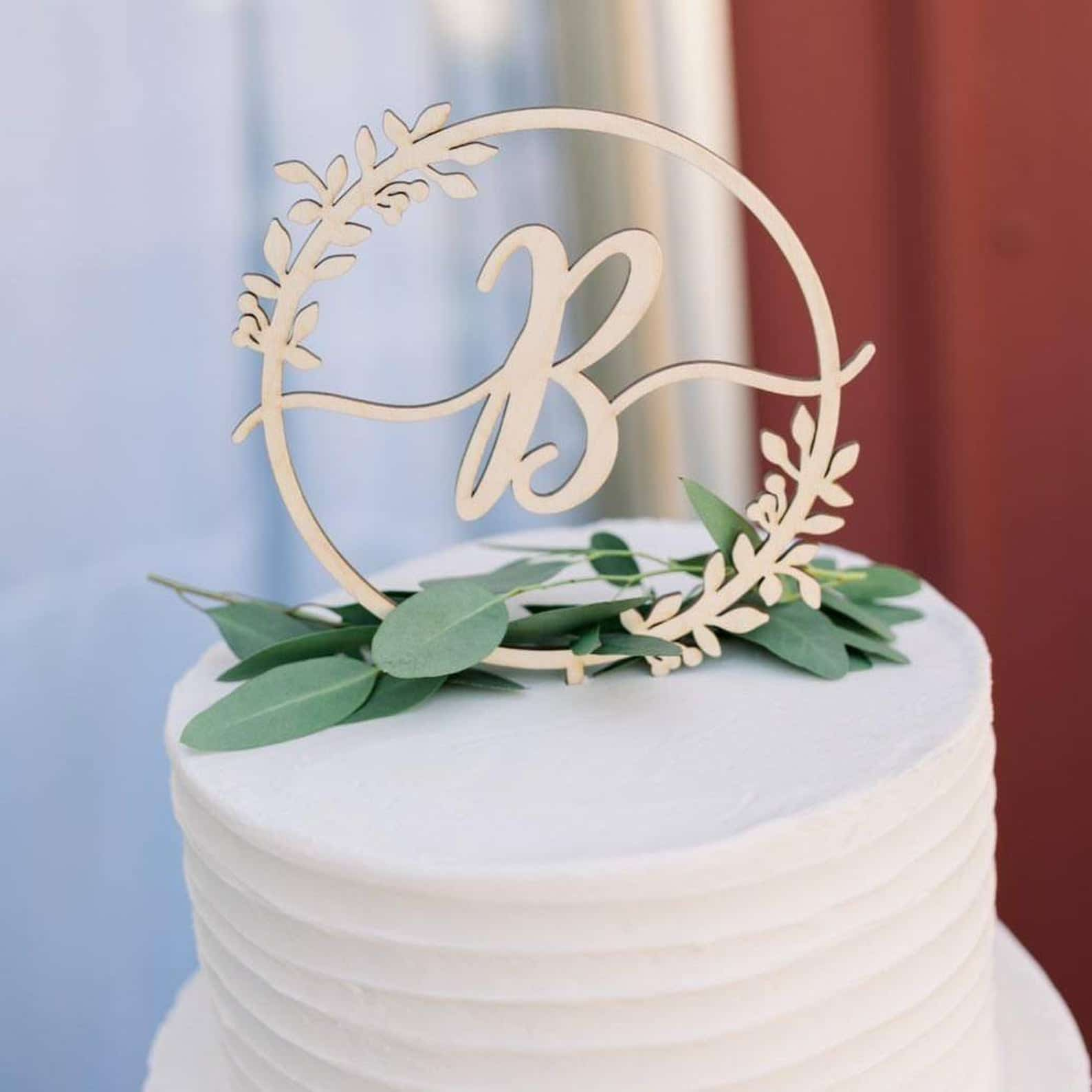 Rustic Monogram Cake Topper by Thistle and Lace
