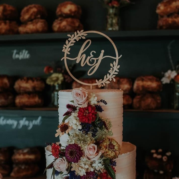 Rustic Monogram Wedding Cake Topper by Thistle and Lace Designs Inc