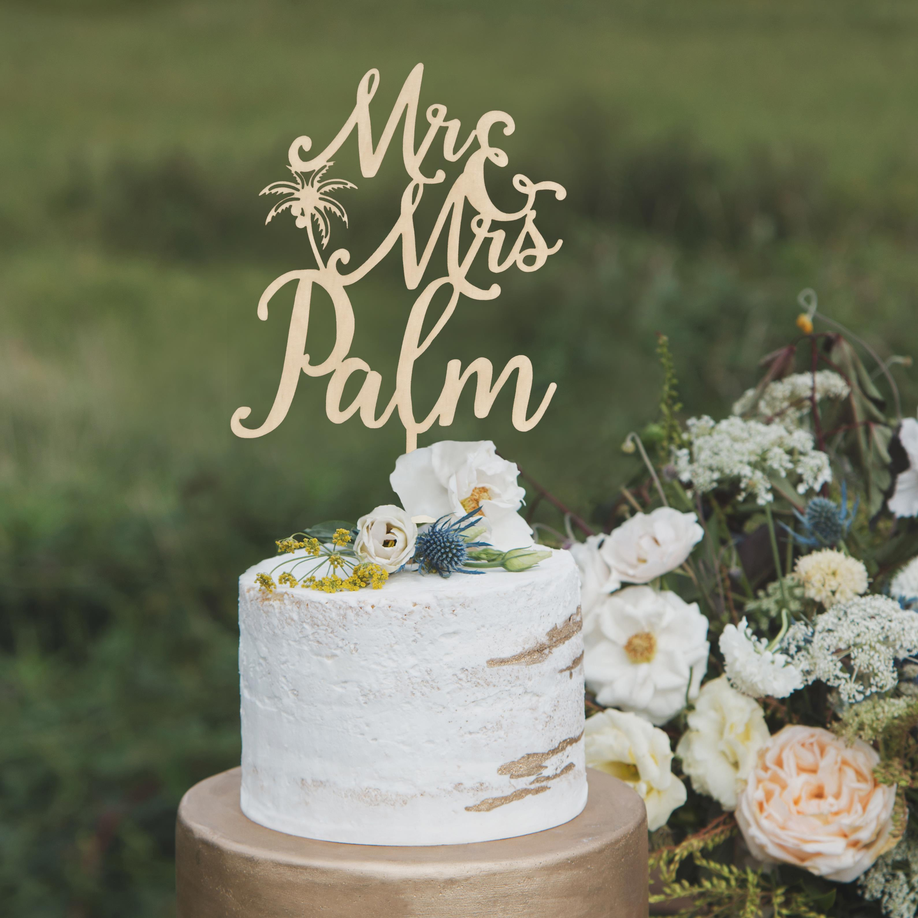 Custom Mr and Mrs Tropical wedding cake topper by Thistle and Lace