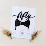 50th Birthday Cake Topper with Bow Tie by Thistle and Lace Designs Inc