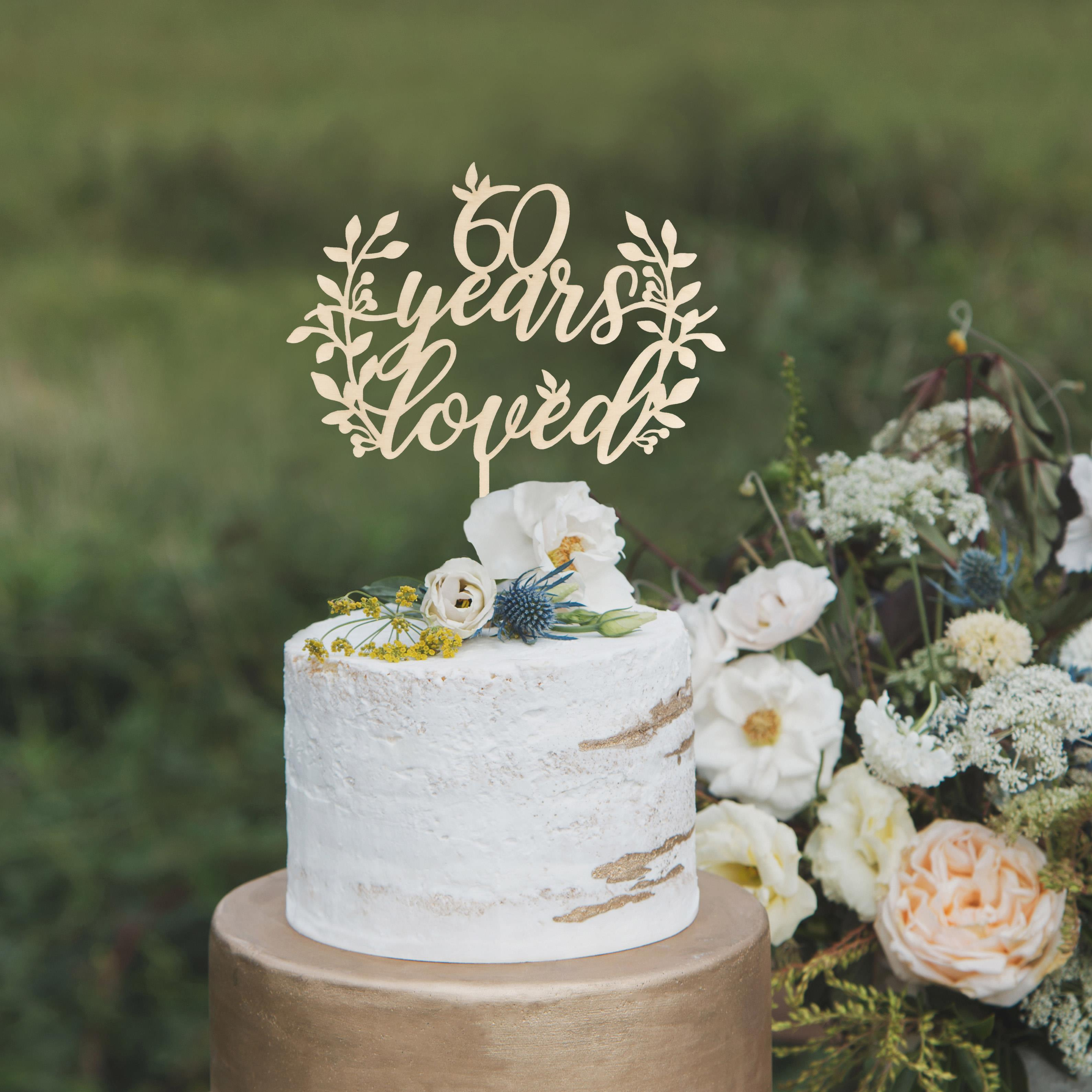 60 Years Loved Cake Topper by Thistle and Lace