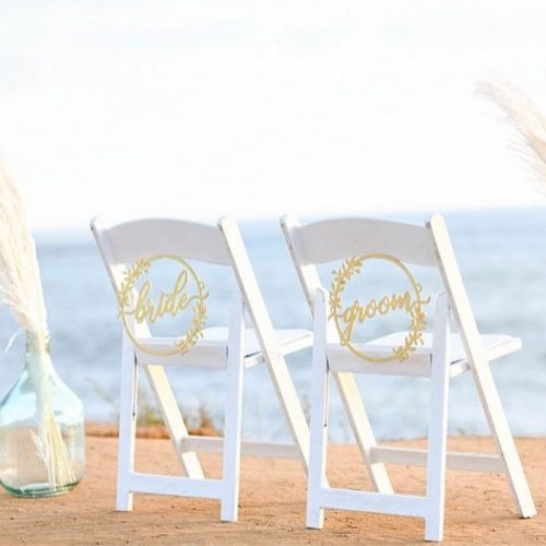 Bride and Groom Rustic Wedding Chair Signs by Thistle and Lace Design Inc