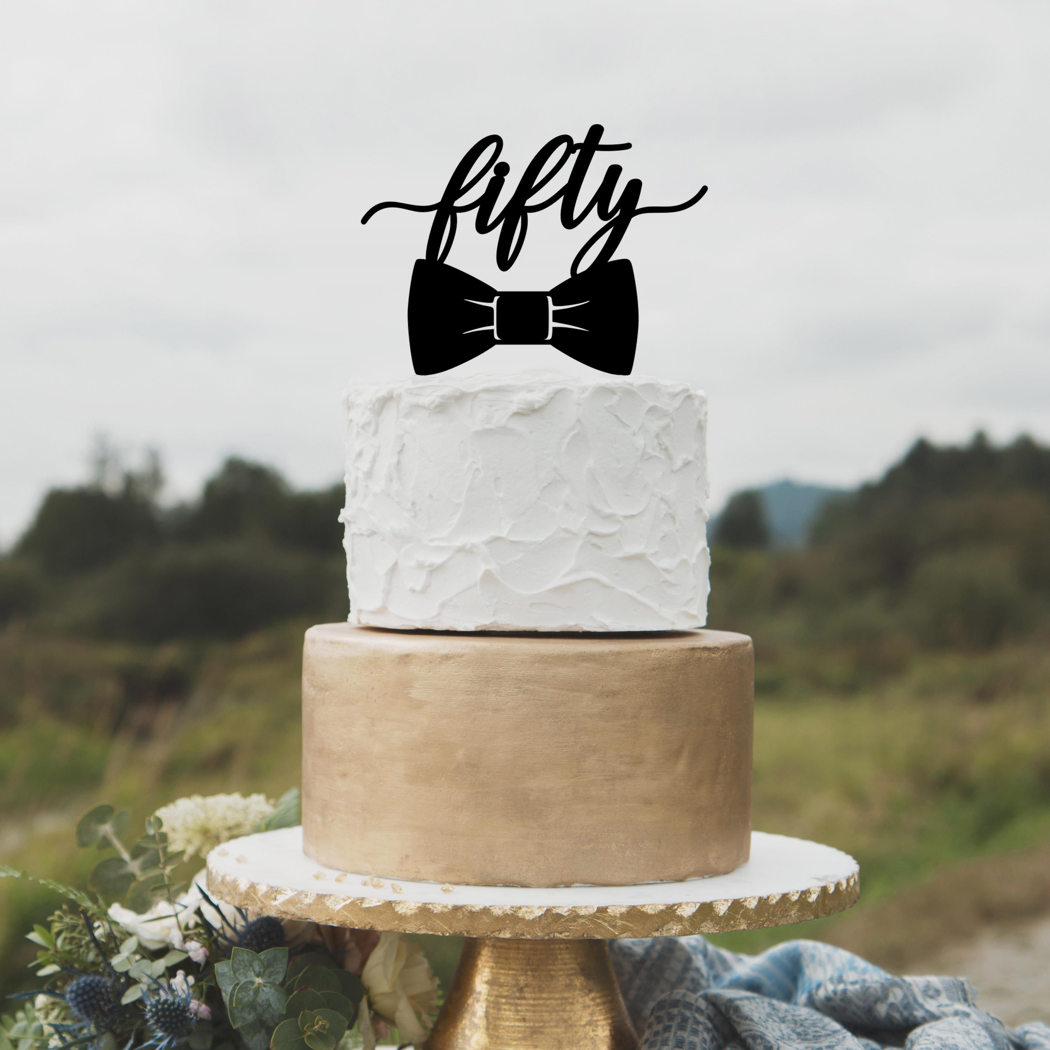 Classic Fiftieth birthday cake topper by Thistle and Lace