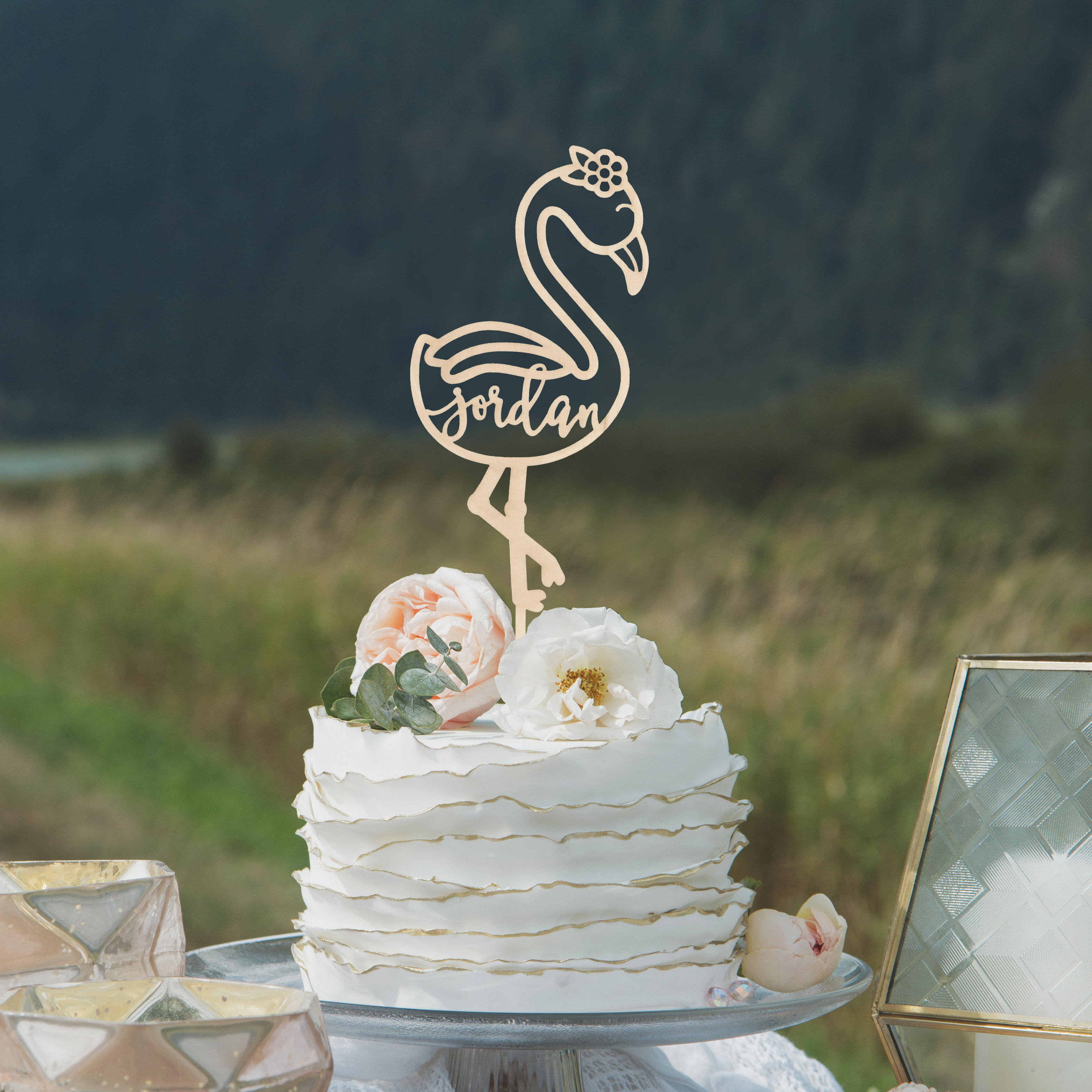 Flamingo Cake Topper by Thistle and Lace