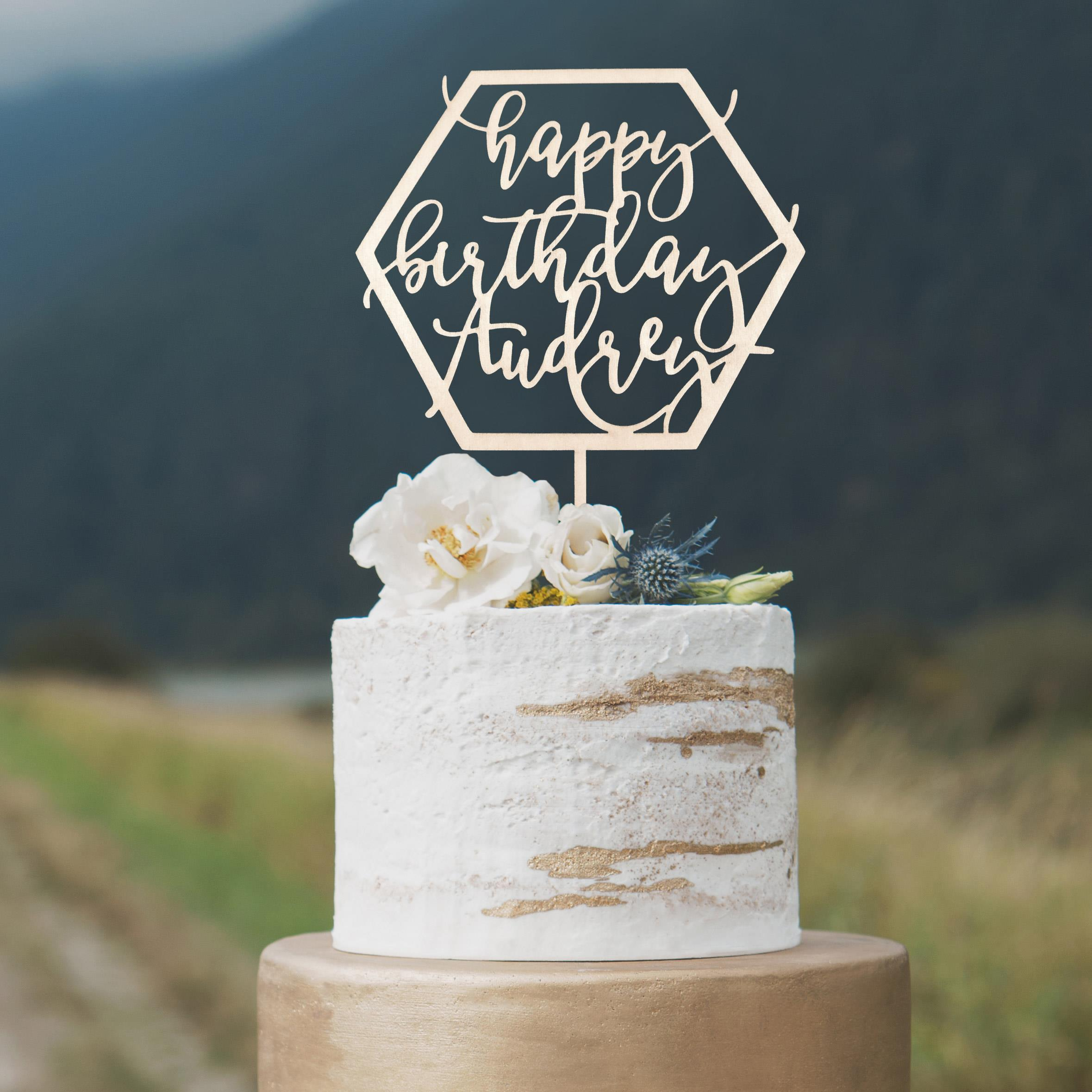 Custom Happy Birthday Cake Topper by Thistle and Lace