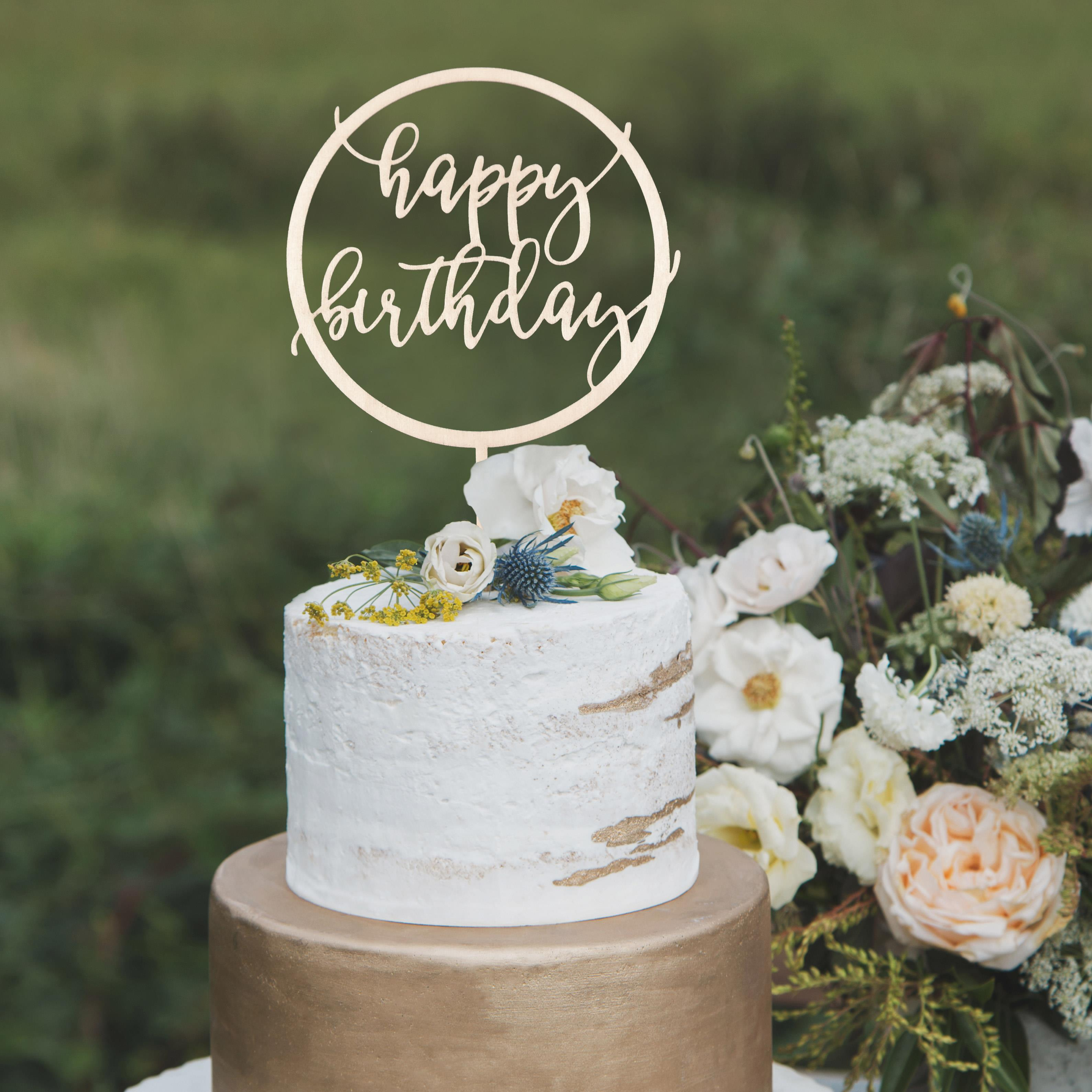 Modern Happy Birthday Cake Topper by Thistle and Lace