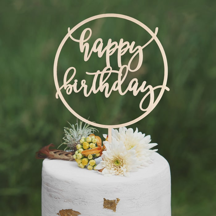 happy birthday cake topper by Thistle and Lace Designs Inc.
