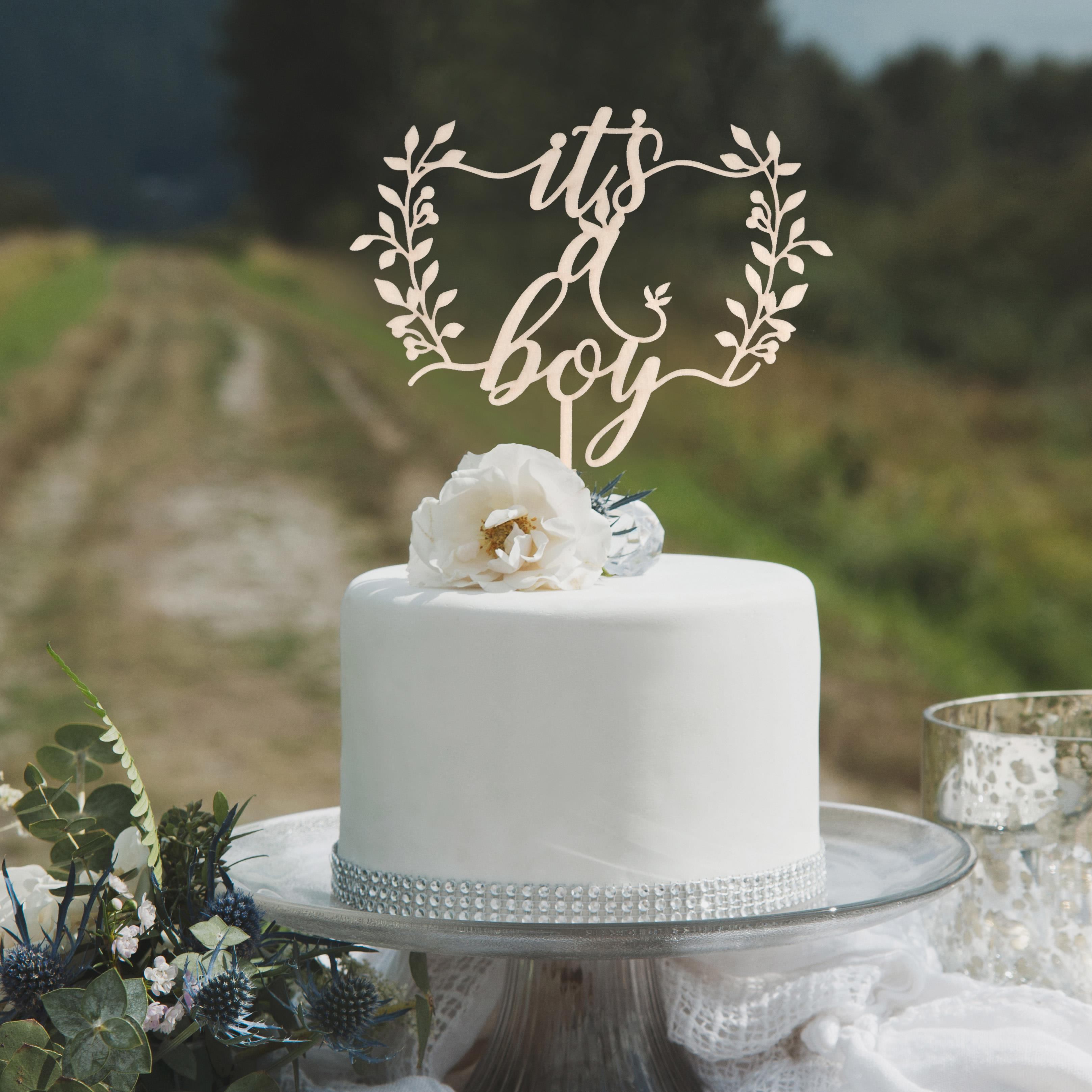 It's a boy Woodland baby shower cake topper by Thistle and Lace