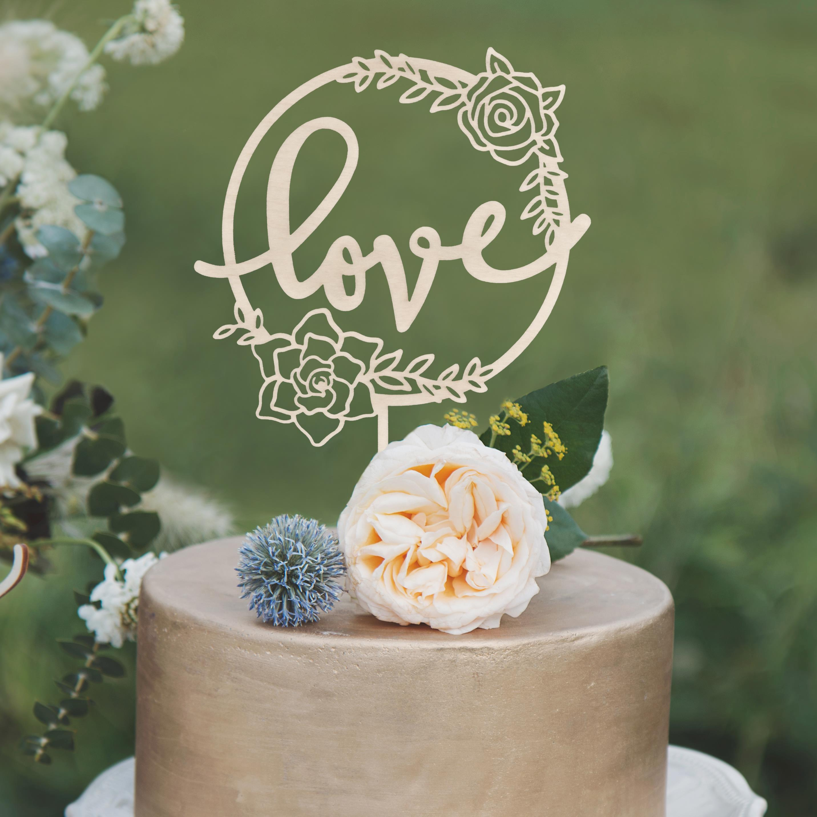 Love wedding cake topper by Thistle and Lace