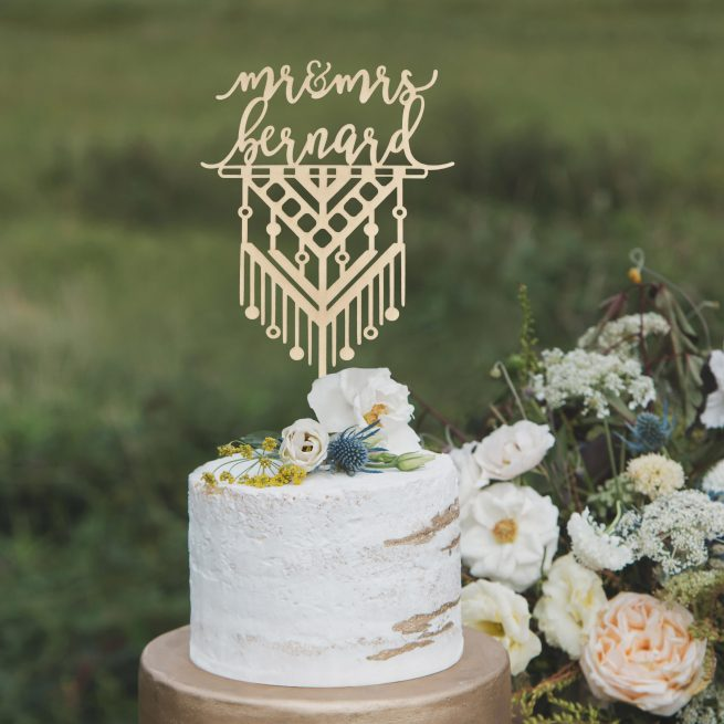 Macrame Mr and Mrs Cake Topper