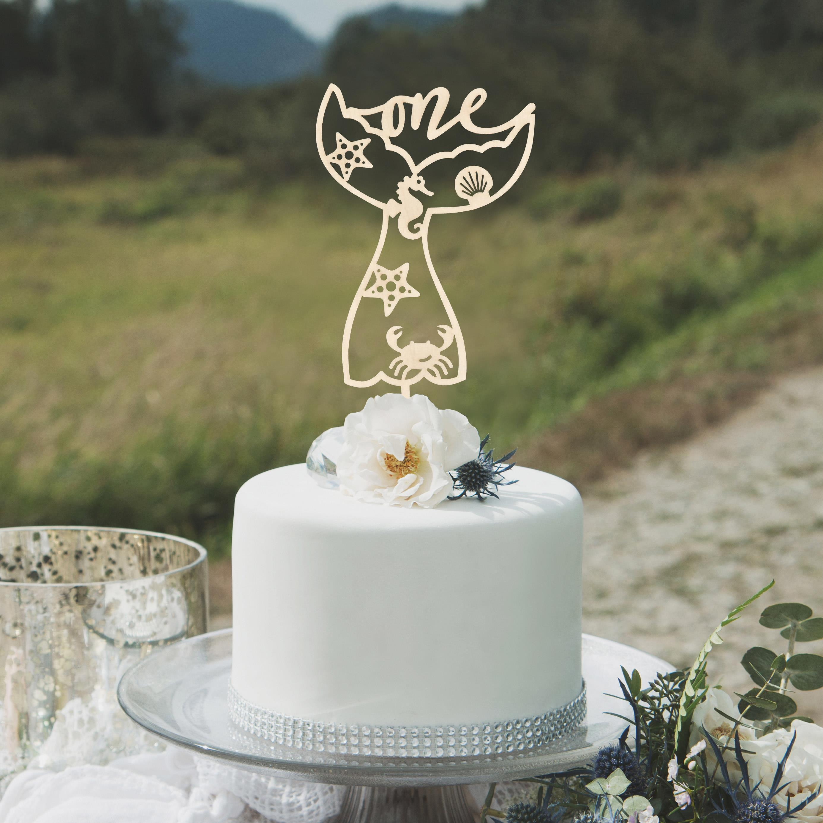 Mermaid Tail Cake Topper by Thistle and Lace