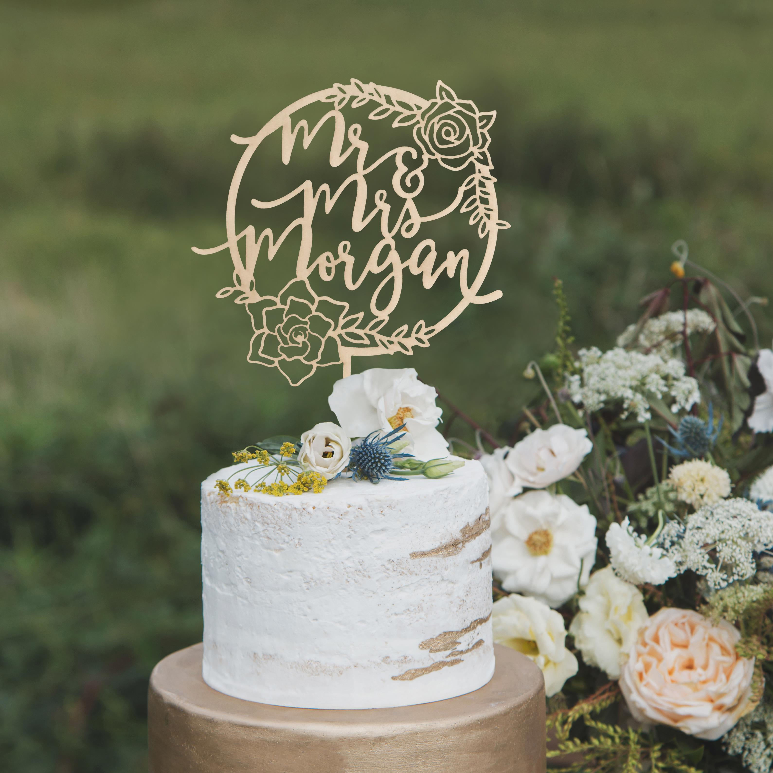 Floral Mr and Mrs Wedding Cake Topper