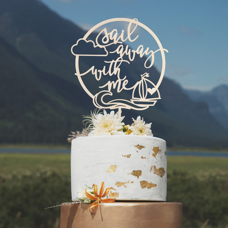 Sail Away With Me Wedding Cake Topper by Thistle and Lace