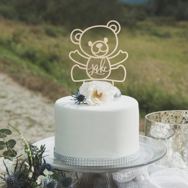 Custom Teddy Bear Birthday Cake Topper