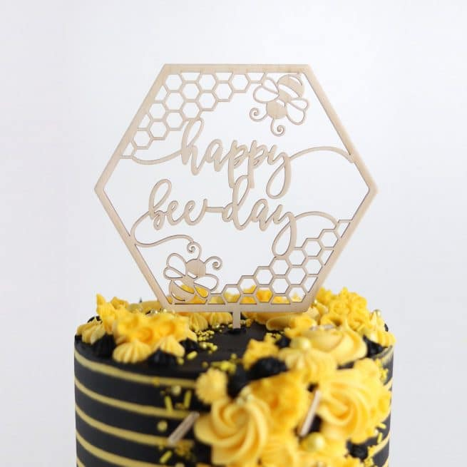 Happy Bee Day Cake Topper by Thistle and Lace Designs Inc