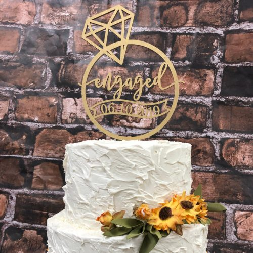 Custom engagement cake topper by Thistle and Lace