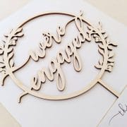 We're Engaged Rustic Engagement Cake Topper by Thistle and Lace Designs Inc