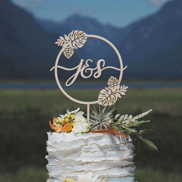 Custom Monstera wedding cake topper