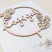 Engaged Tropical Bridal Shower Cake Topper by Thistle and Lace Designs Inc