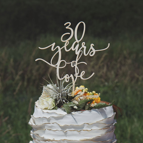30 years of love anniversary cake topper by Thistle and Lace