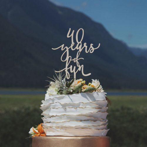 40 Years of Fun Anniversary Cake Topper
