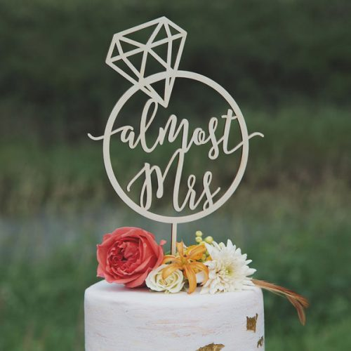 Almost Mrs Bridal Shower Cake Topper